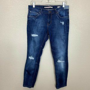 Zara Woman Blue Distressed Jeans Relaxed Fit 6